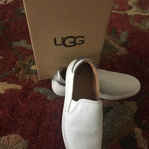 UGG White Leather Slip On Sneakers NWB